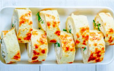 Omeletrolletjes met feta & kruiden