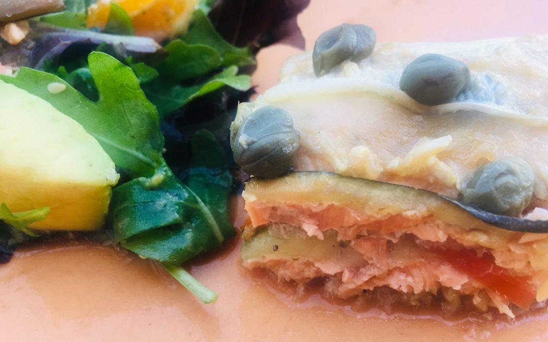 Japanse lasagne van zalm & courgette